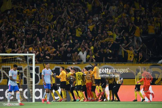 Jordan Siebatcheu of Young Boys celebrates with teammates after scoring their side's second goal during the UEFA Champions League group F match...