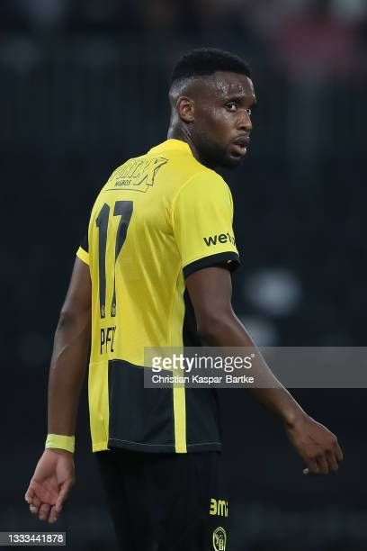 Jordan Siebatcheu Pefok of BSC Young Boys looks on during the UEFA Champions League Third Qualifying Round Leg Two match between BSC Young Boys and...