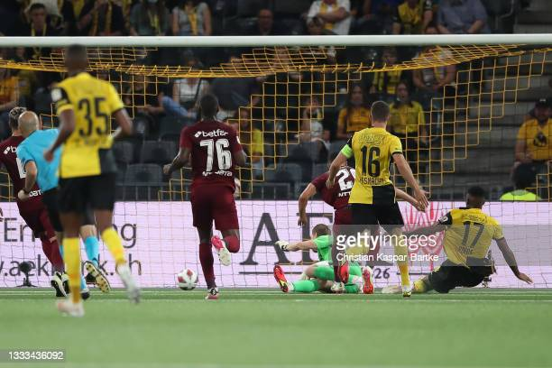Jordan Siebatcheu Pefok of BSC Young Boys scores their side`s third goal during the UEFA Champions League Third Qualifying Round Leg Two match...