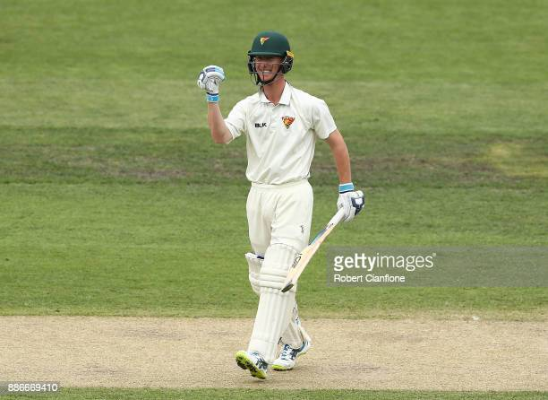 Jordan Silk of Tasmania celebrates after he scored the winning runs during day four of the Sheffield Shield match between New South Wales and...