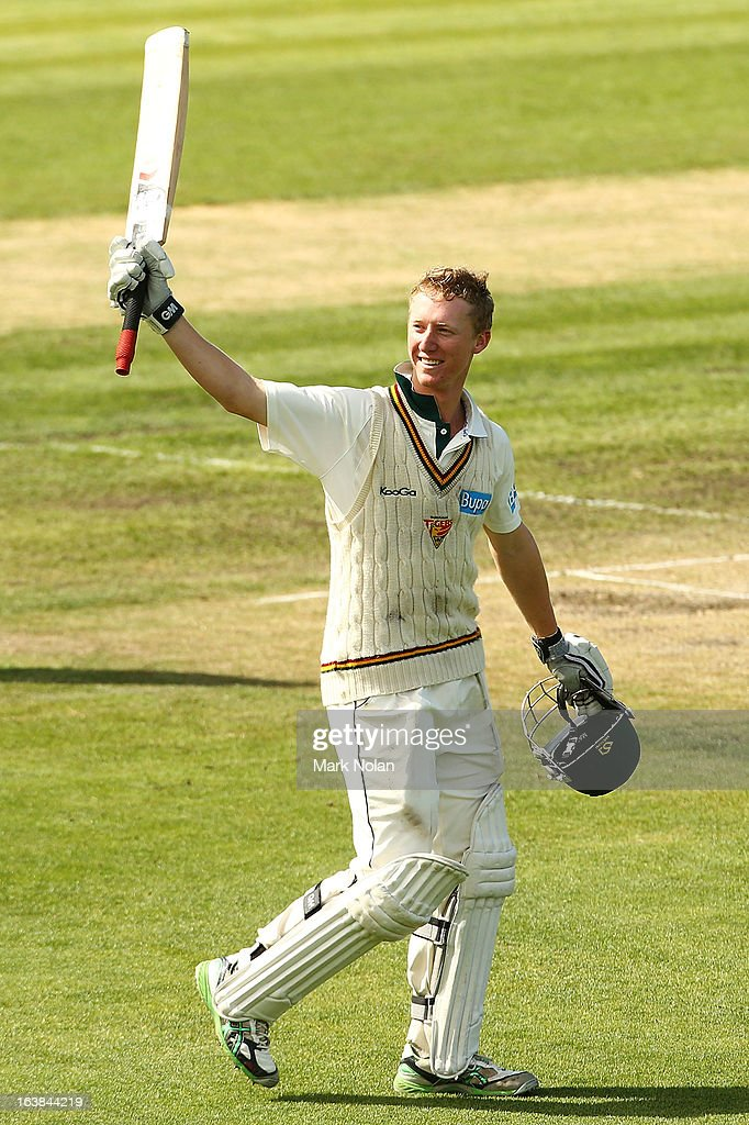 Jordan Silk of Tasmania celebrates his century during day four of the Sheffield Shield match between the Tasmania Tigers and the Victoria Bushrangers at Blundstone Arena on March 17, 2013 in Hobart, Australia.