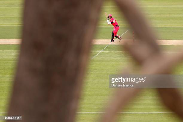 Jordan Silk of the Sixers bats during the Big Bash League match between the Hobart Hurricanes and the Sydney Sixers at Traeger Park on December 20,...