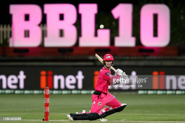 Jordan Silk of the Sixers bats during the Big Bash League match between the Hobart Hurricanes and Sydney Sixers at Blundstone Arena, on December 10...