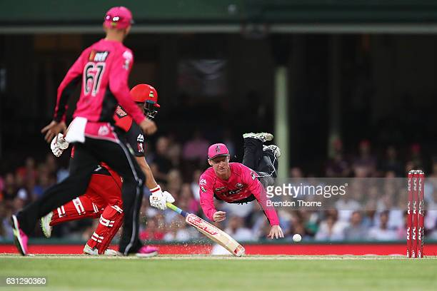 Jordan Silk of the Sixers fields during the Big Bash League match between the Sydney Sixers and the Melbourne Renegades at Sydney Cricket Ground on...