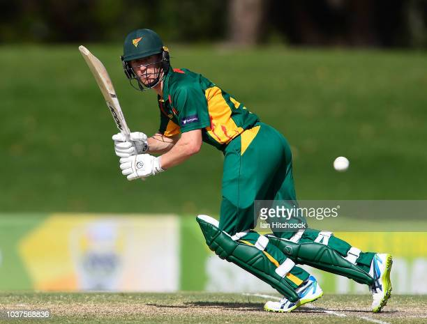 Jordan Silk of the Tigers bats during the JLT One Day Cup match between Queensland and Tasmania at Riverway Stadium on September 22 2018 in...