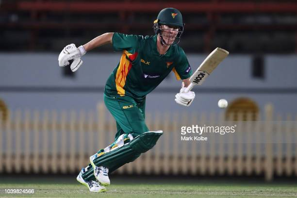 Jordan Silk of the Tigers bats during the JLT One Day Cup match between New South Wales and Tasmania at North Sydney Oval on September 25 2018 in...