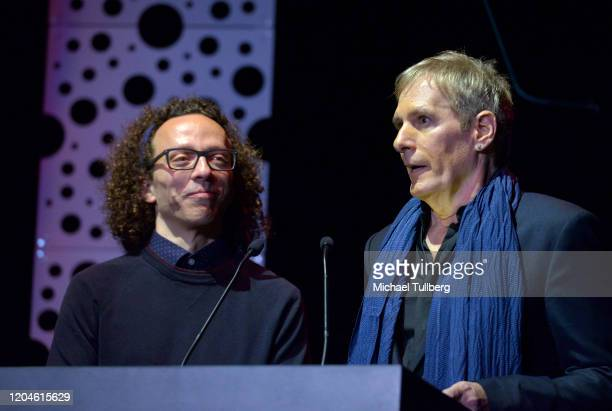 Jordan Silverberg and singer Michael Bolton speak at the 10th annual Guild of Music Supervisors Awards at The Wiltern on February 06, 2020 in Los...