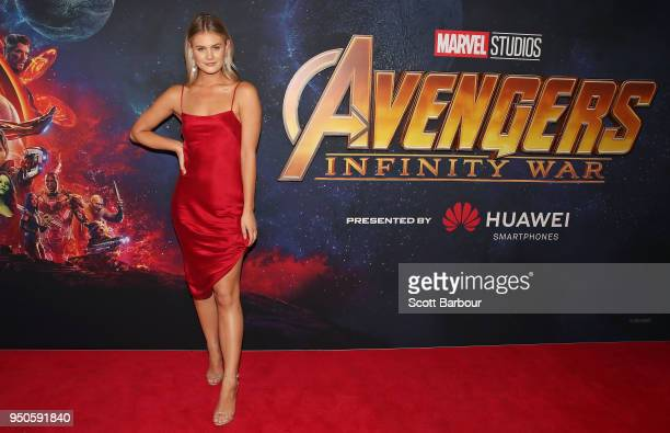 Jordan Simek attends the Avengers Infinity War Special Event Screening on April 24 2018 in Melbourne Australia