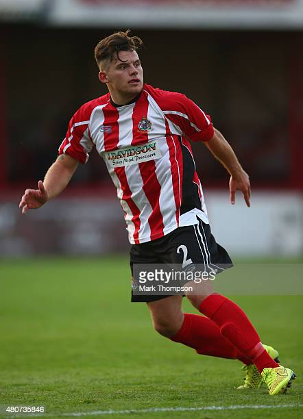 Jordan Sinnott of Altrincham football club in action during the pre season friendly between Altrincham and Wigan Athletic at the J Davidson stadium...