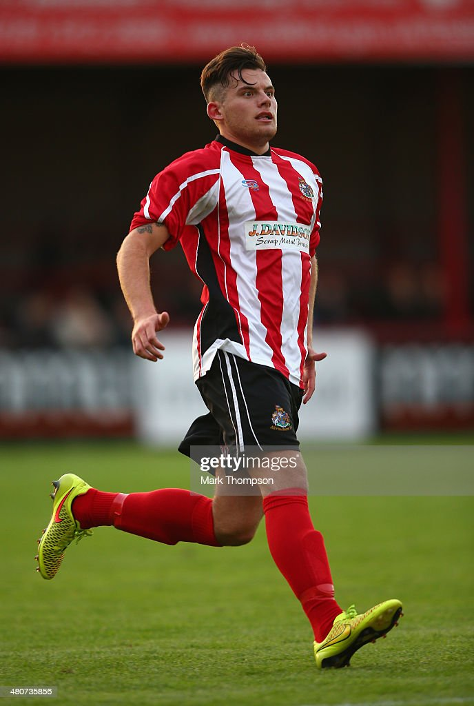 Jordan Sinnott of Altrincham football club in action during the pre season friendly between Altrincham and Wigan Athletic at the J Davidson stadium on July 14, 2015 in Altrincham, England.