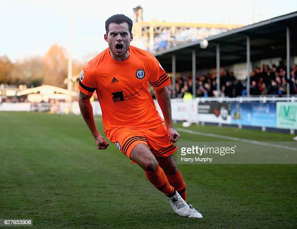 Jordan Sinnott of FC Halifax celebrates scoring his teams first goal during the Emirates FA Cup Second Round match between Eastleigh FC and FC...