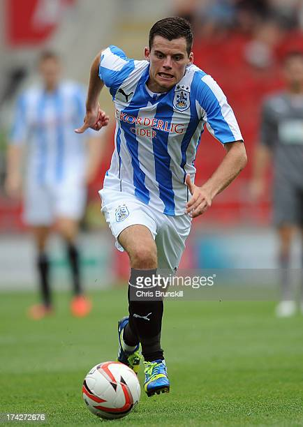 Jordan Sinnott of Huddersfield Town in action during the pre season friendly match between Rotherham United and Huddersfield Town at The New York...