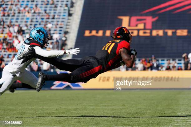 Jordan Smallwood of the LA Wildcats dives to make a catch against the Dallas Renegades at Dignity Health Sports Park on February 16, 2020 in Carson,...