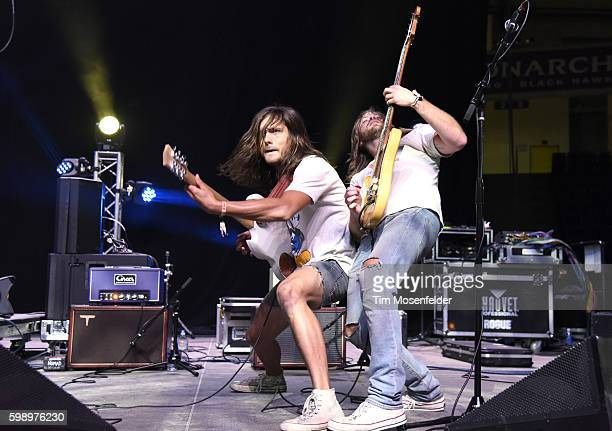 Jordan Smith and Brent Toler of Diarrhea Planet perform during Riot Fest at National Western Complex on September 2 2016 in Denver Colorado