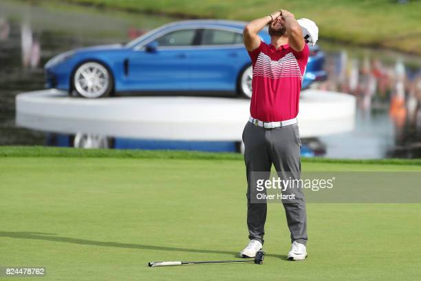 Jordan Smith of England celebrate after his put during the Green Eagle Golf Course on July 30 2017 in Hamburg Germany