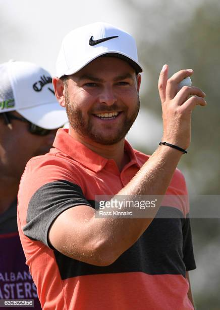 Jordan Smith of England celebrates his eagle on the first hole during the second round of the Commercial Bank Qatar Masters at the Doha Golf Club on...