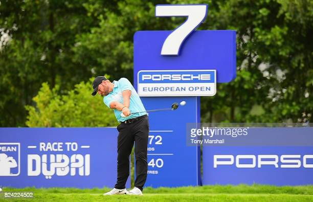 Jordan Smith of England plays his first shot on the 7th tee during the Porsche European Open Day Three at Green Eagle Golf Course on July 29 2017 in...