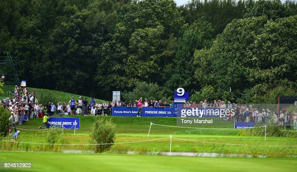 Jordan Smith of England plays his first shot on the 9th tee during the Porsche European Open Day Four at Green Eagle Golf Course on July 30 2017 in...
