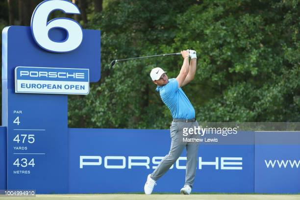 Jordan Smith of England tees off on the 6th hole during a practice round ahead of the Porsche European Open at Green Eagle Golf Course on July 25...