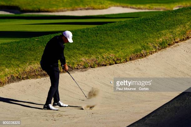 Jordan Speith hits from the bunker during the second round of the Genesis Open at the Riviera Country Club Golf Course on February 16 2018 in Pacific...