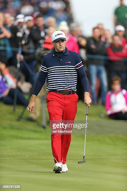 Jordan Speith of USA in action during the Singles Matches of the 2014 Ryder Cup on the PGA Centenary course at the Gleneagles Hotel on September 28,...