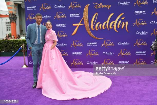 """Jordan Spence and Naomi Scott attend the premiere of Disney's """"Aladdin"""" at El Capitan Theatre on May 21, 2019 in Los Angeles, California."""