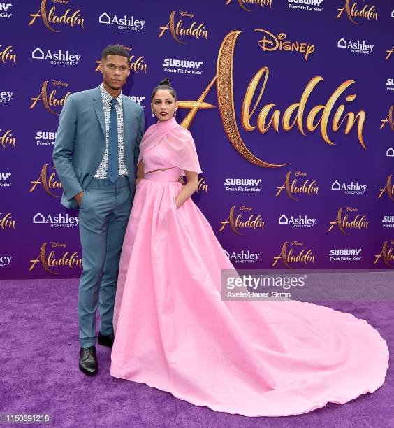 """Jordan Spence and Naomi Scott attend the premiere of Disney's """"Aladdin"""" on May 21, 2019 in Los Angeles, California."""