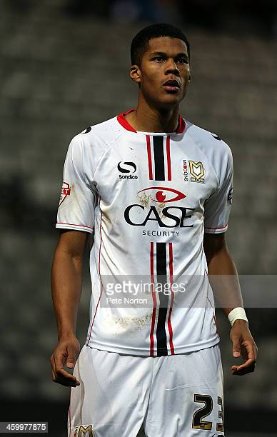 Jordan Spence of Milton Keynes Dons in action during the Sky Bet League One match between Milton Keynes Dons and Colchester United at Stadium MK on...