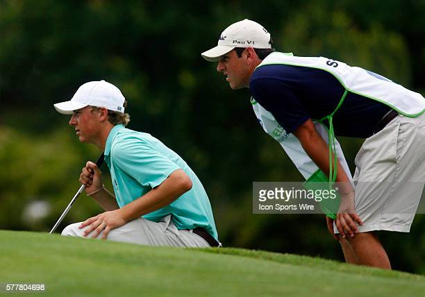 Jordan Spieth and his caddy line up the putt on 9th during the second round of the HP Byron Nelson Championship played at TPC Las Colinas Four Season...