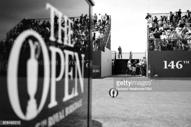 Jordan Spieth and Matt Kuchar of the United States walk onto the 1st tee during the final round of the 146th Open Championship at Royal Birkdale on...
