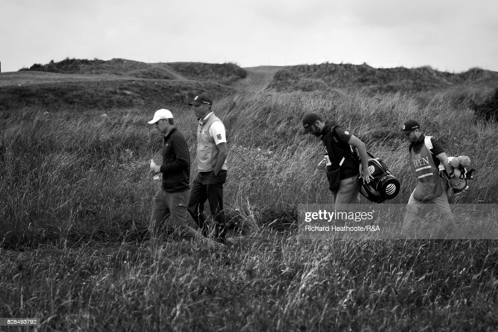 Jordan Spieth and Matt Kuchar of the USA walk down the 11th hole during the final round of the 146th Open Championship at Royal Birkdale on July 23, 2017 in Southport, England.