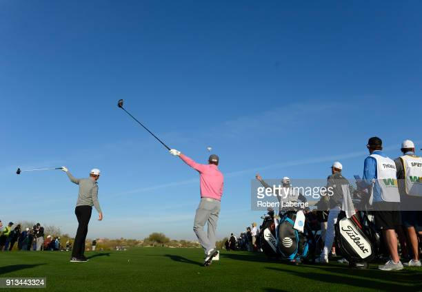 Jordan Spieth and Patton Kizzire react to a tee shot on the 13th hole during the second round of the Waste Management Phoenix Open at TPC Scottsdale...