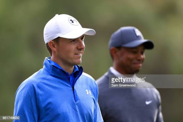 Jordan Spieth and Tiger Woods look on during the first round of the Valspar Championship at Innisbrook Resort Copperhead Course on March 8 2018 in...