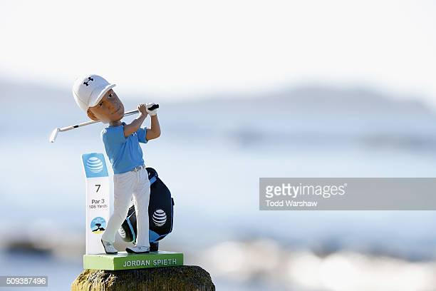 Jordan Spieth bobblehead doll is displayed on the 18th hole during practice for the ATT Pebble Beach National ProAm at Pebble Beach Golf Links on...