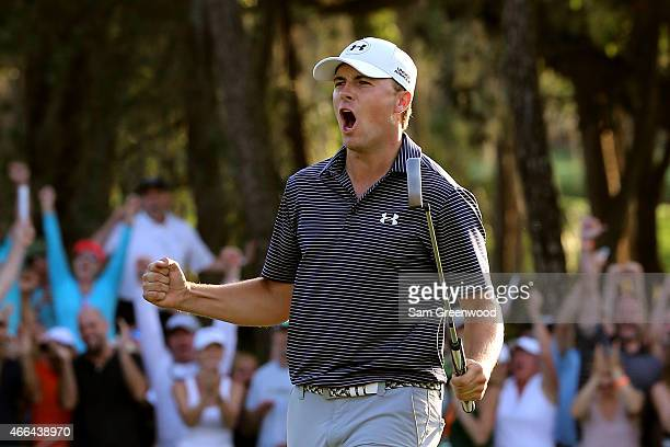 Jordan Spieth celebrates after a birdie putt on the third playoff hole to win the Valspar Championship during the final round at Innisbrook Resort...