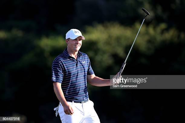 Jordan Spieth celebrates after putting for birdie to go 30 under and win the final round of the Hyundai Tournament of Champions at the Plantation...