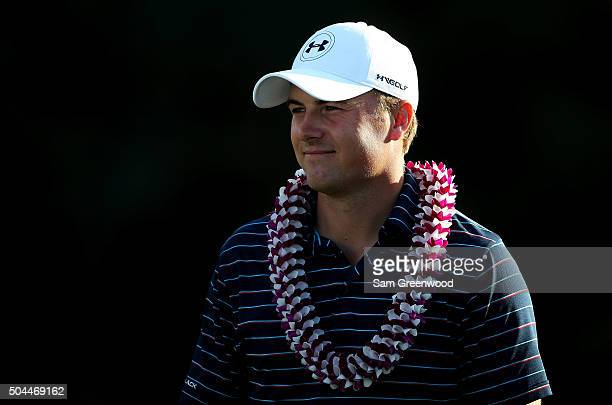 Jordan Spieth celebrates after winning the final round of the Hyundai Tournament of Champions at the Plantation Course at Kapalua Golf Club on...