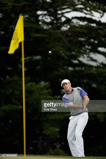 Jordan Spieth chips on to the green on the fourth hole during round three of the World Golf Championships Cadillac Match Play at TPC Harding Park on...