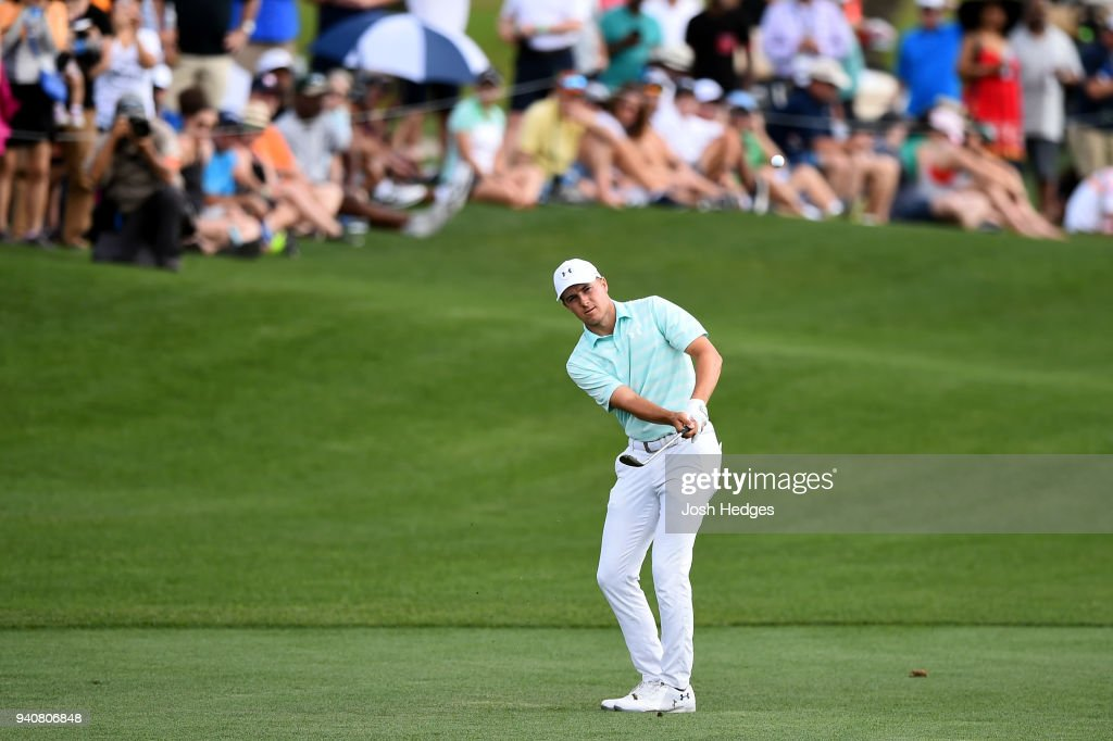Jordan Spieth chips onto the 18th green during the final round of the Houston Open at the Golf Club of Houston on April 1, 2018 in Humble, Texas.