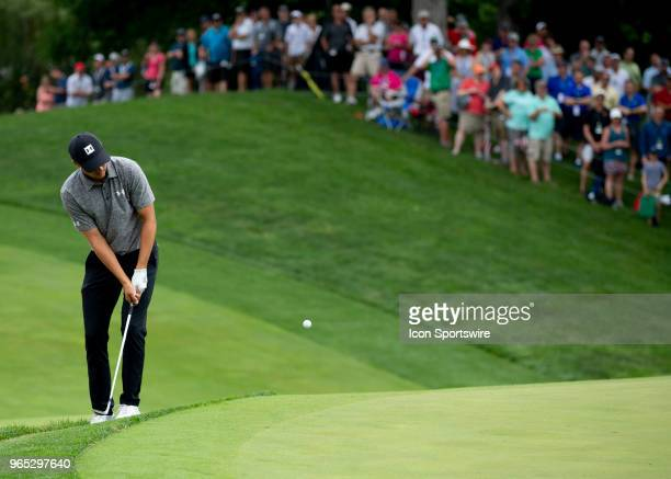 Jordan Spieth chips onto the greeen during the second round of the Memorial Tournament at Muirfield Village Golf Club in Dublin Ohio on June 01 2018