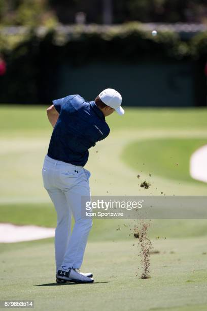 Jordan Spieth chips to the green at the final round of the 102nd Australian Open Golf Championship at The Australian Golf Club in Sydney on November...