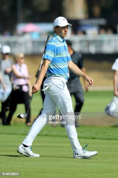 Jordan Spieth comeptes during the ProAm of the Genesis Open at the Riviera Country Club on February 14 2018 in Pacific Palisades California