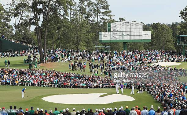 Jordan Spieth hits a putt on the second hole during the final round of the 2016 Masters Tournament at the Augusta National Golf Club on April 10 2016...