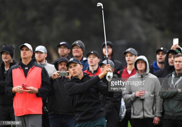 Jordan Spieth hits a second shot on the second hole during the first round of the Genesis Open at Riviera Country Club on February 14 2019 in Pacific...