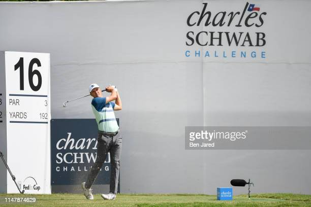 Jordan Spieth hits a shot on the sixteenth tee box during the final round of the Charles Schwab Challenge at Colonial Country Club on May 26 2019 in...