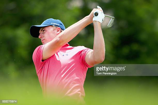 Jordan Spieth hits a shot on the third hole during Round Three at the ATT Byron Nelson on May 21 2016 in Irving Texas
