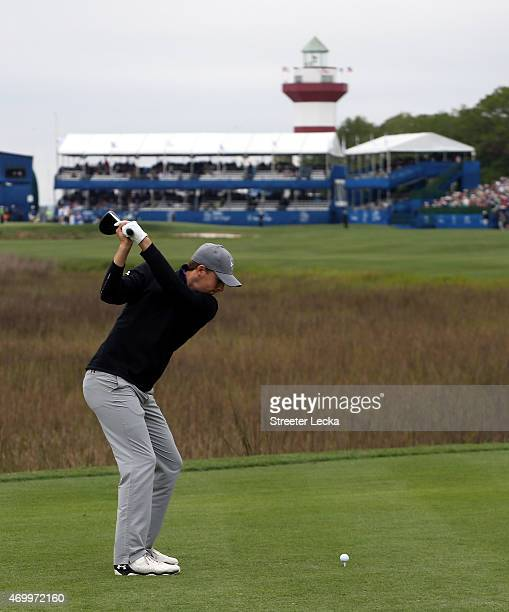 Jordan Spieth hits a tee shot on the 18th hole during the first round of the RBC Heritage at Harbour Town Golf Links on April 16 2015 in Hilton Head...