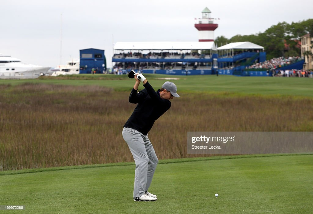 Jordan Spieth hits a tee shot on the 18th hole during the first round of the RBC Heritage at Harbour Town Golf Links on April 16, 2015 in Hilton Head Island, South Carolina.