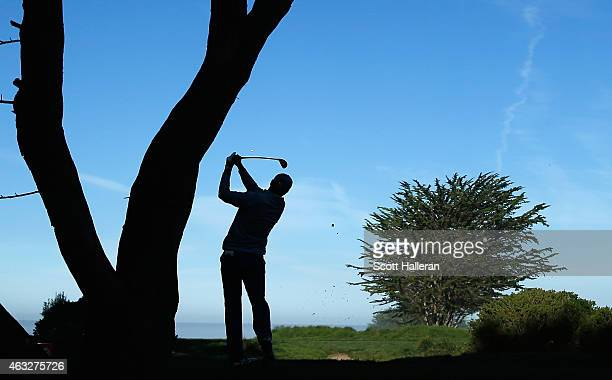 Jordan Spieth hits a tee shot on the fifth hole during the first round of the ATT Pebble Beach National ProAm at Monterey Peninsula Country Club on...