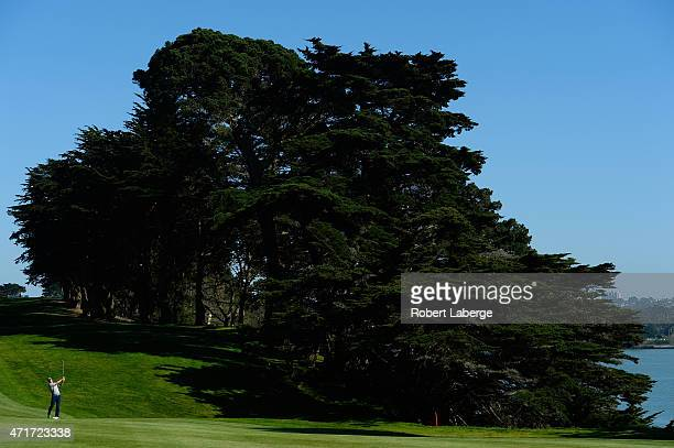 Jordan Spieth hits an approach shot on the 11th fairway during round two of the World Golf Championship Cadillac Match Play at TPC Harding Park on...